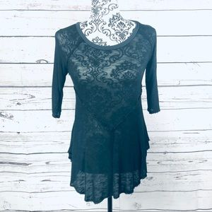 Free People Intimately Raw Edge Sheer Knit Sweater